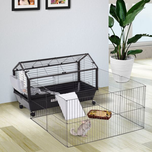 PawHut High Quality Metal Penny Cage Main House W/ wheels and brakes Foldable Large Run Black | Aosom Canada