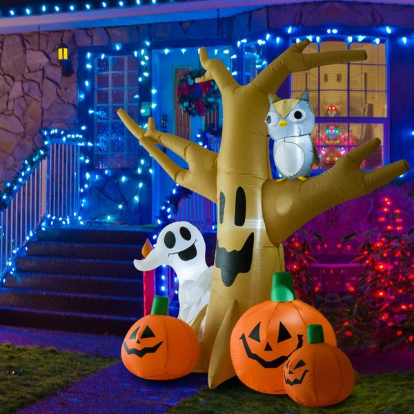 HOMCOM 7.5' Tall Outdoor Lighted Airblown Inflatable Halloween Decoration - Haunted Tree W/ Own/Ghost/Pumpkins|Aosom Canada