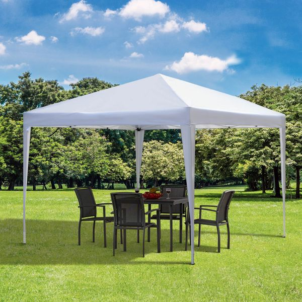 Outsunny 10x10ft Easy Pop Up Canopy Party Wedding Tent Outdoor Patio Shelter White Aosom Canada