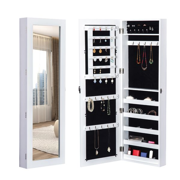 HOMCOM White Mirrored Jewelry Cabinet Hanging Wall Door Mount Real Glass Mirror Armoire Storage Organizer Lock | Aosom Canada