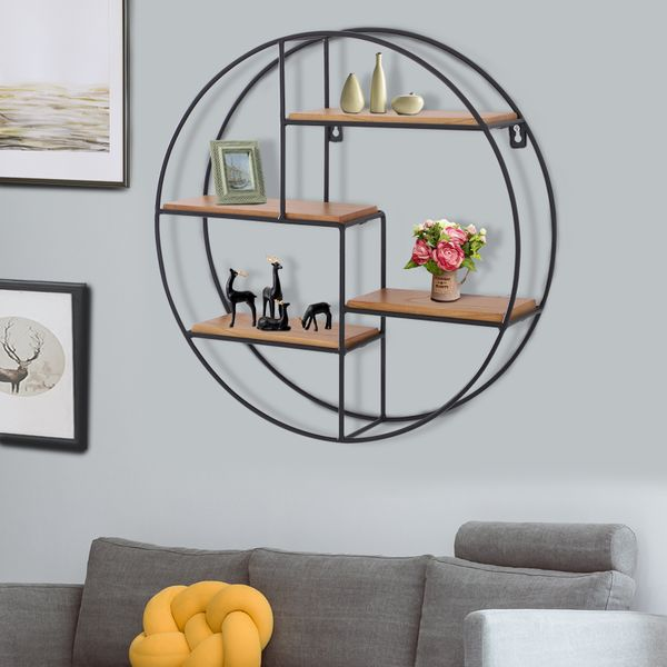 HOMCOM Round Wall-Mounted Shelves Wall Hanging Room Decoration Frame Partition Iron Display Storage|AOSOM.CA