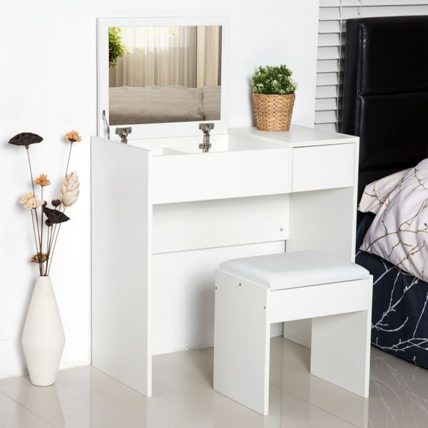 HOMCOM Dressing Table Set with Flip Top Mirror and Cushioned Stool Makeup Vanity Table Dresser Desk with Drawer and Storage Grids for Bedroom White & | Aosom Canada