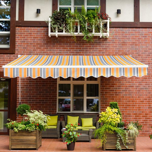 Outsunny 13'x8' Manual Retractable Patio Awning Mix Color|AOSOM.CA