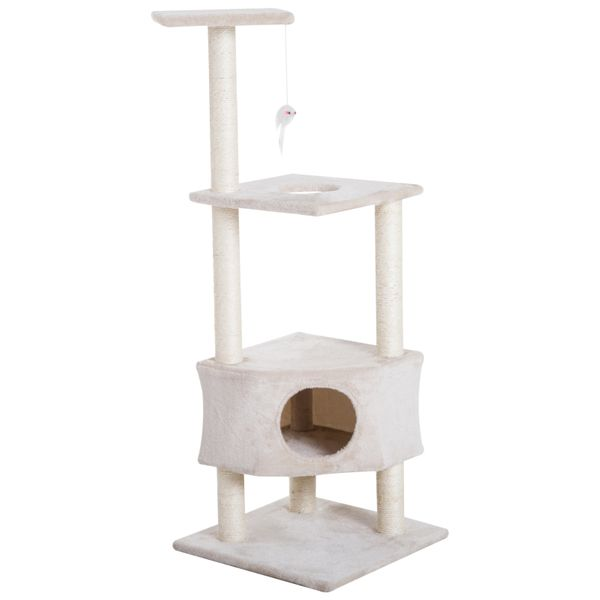"PawHut 51"" Multi-Level Cat Tree Scratching Post Kitten Scratcher Condo Kitty Condo and Climbing Tower Pet Furniture with Hanging Toy