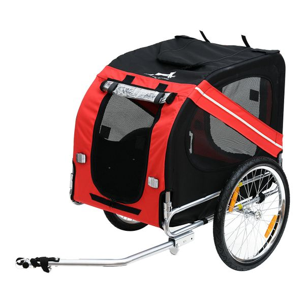 PawHut Foldable Pet Small Animal Bicycle Trailer Durable Safe Stroller Dog Cat Carrier w/ Drawbar Hitch Red & Black |Aosom Canada