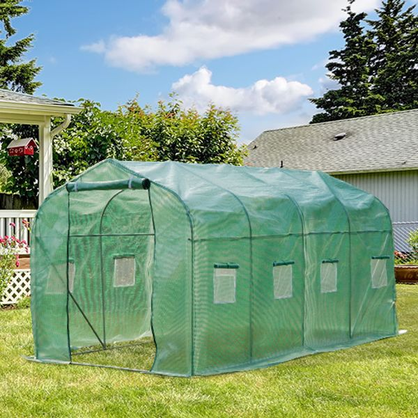 Outsunny Polytunnel Walk in Greenhouse 13.1' x 6.6' with Windows and Door|AOSOM.CA