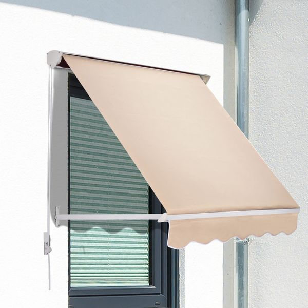 Outsunny 6'x2.3' Drop Arm Window Awning Manual Retractable Canopy Shelter Sunshade (Cream White)