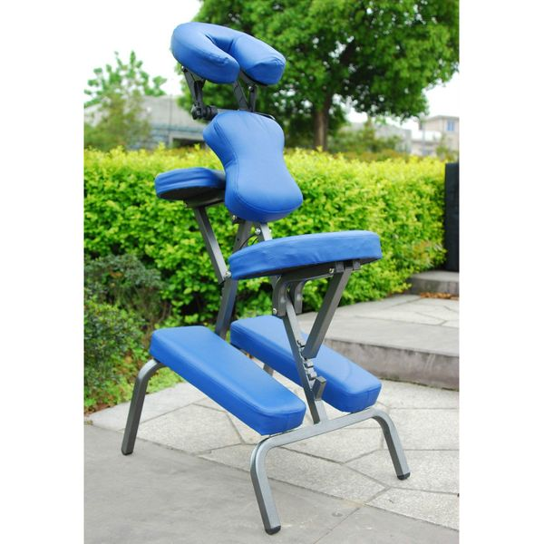 Homcom Portable Massage Chair Professional Leather Seat with Carry Bag Beauty Tattoo Facial Spa Health Chair Blue|Aosom Canada