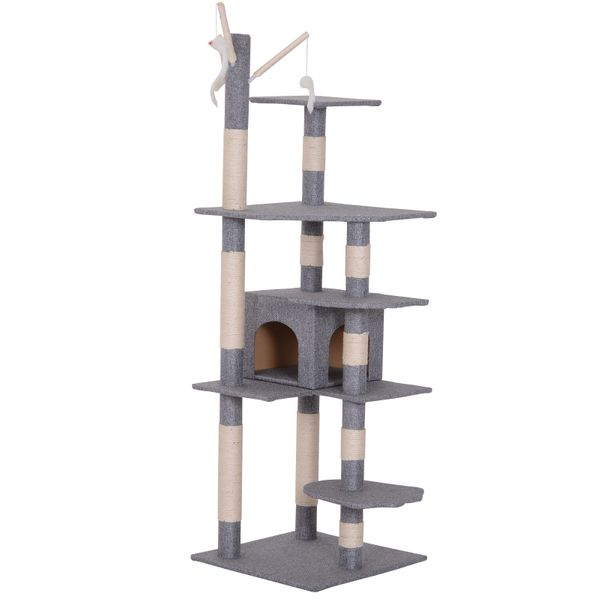 PawHut Cat Tree Cat Scratching Post Multifunctional Activity Center w/ Hanging Mouse Toy &  Condo Gray|AOSOM.CA