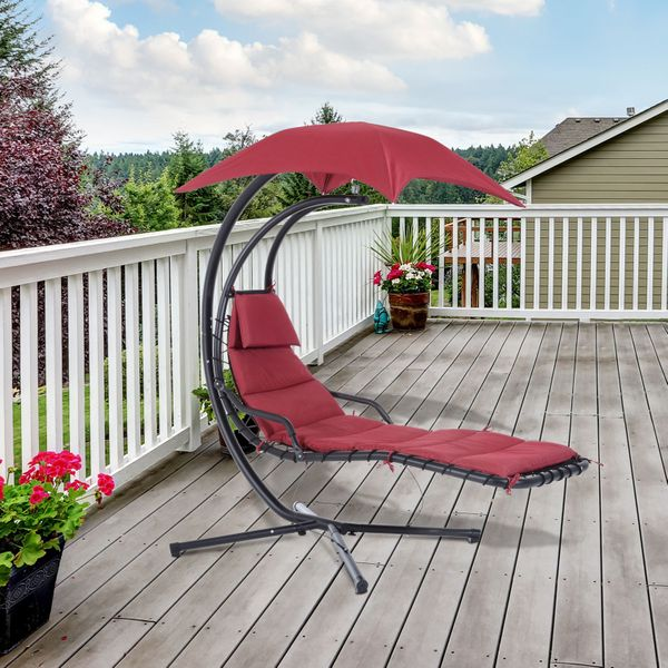 Outsunny Swing Chair Hanging Hammock Chaise Lounge Outdoor Stand Canopy Lounger Patio, Wine Red |Aosom Canada