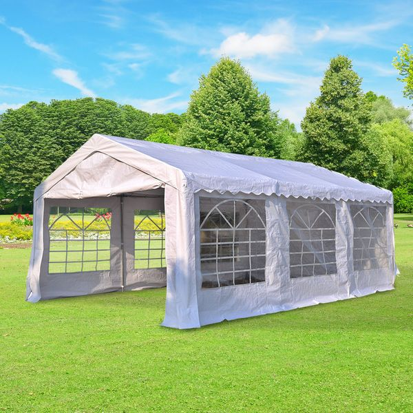 Outsunny Outdoor Party Tent 20x13ft Heavy Duty Carport Patio Wedding Event Tent Gazebo Canopy with Sidewalls White Garage Portable Garden Sun Shelter | Aosom Canada