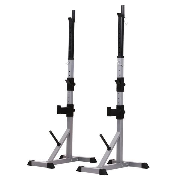 Soozier Barbell Rack Stand Power Rack Squat Barbell Cage Bench Stand, Heavy Duty Adjustable for Home Fitness