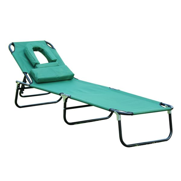 Outsuny Outdoor Patio Lounger - Green | Aosom Canada