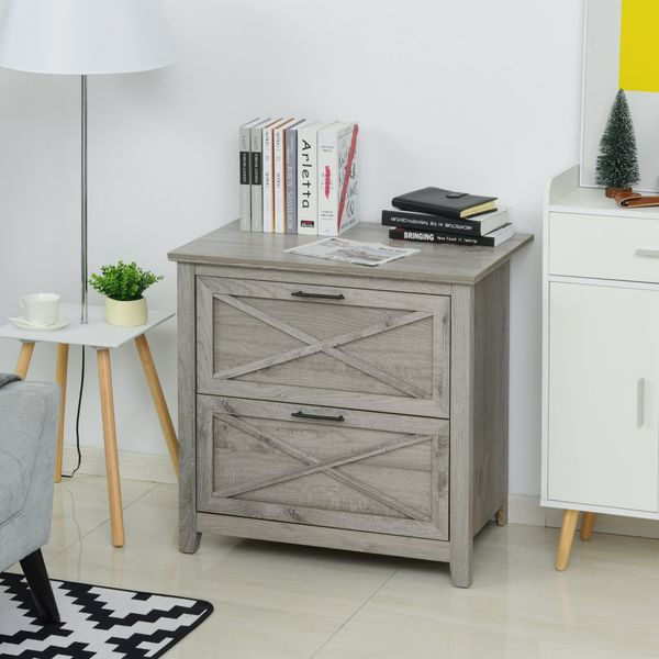 HOMCOM 2-Drawer Lateral File Chest Cabinet Wooden Pedestal for Home Office  Grey