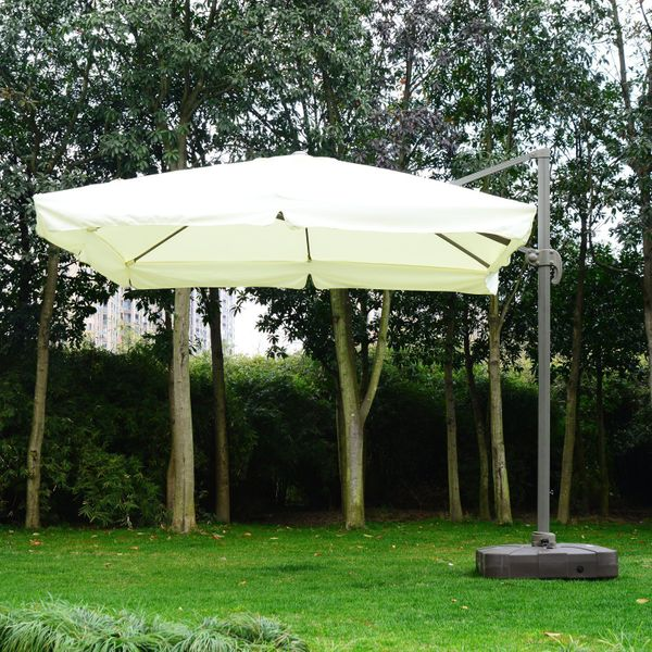 Outsunny 10 Foot Offset Umbrella Tilt Rotatable Adjustable Sunshade Base 10'x10'Square Garden Parasol Outdoor Sun Shade Canopy Cream White with Stand, 1x1ft White |Aosom Canada