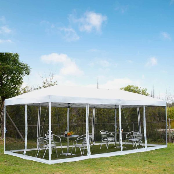 Outsunny 10x20ft Pop Up Party Tent Gazebo Wedding Canopy with 6 Removable Mesh Sidewalls Carry Bag, White Aosom.ca