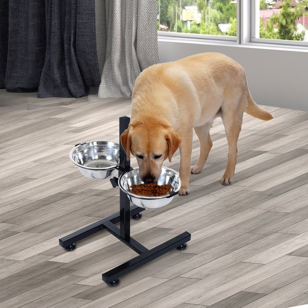 PawHut Elevated Dog Bowls Double Pet Food Dishes Height Adjustable Promote Digestion Stainless Steel with Stand Silver|Aosom Canada