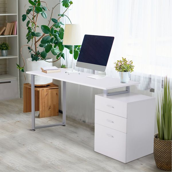 HOMCOM Industrial Style Office Desk Computer Desk with Multi-Use Removable File Drawers White|Aosom Canada