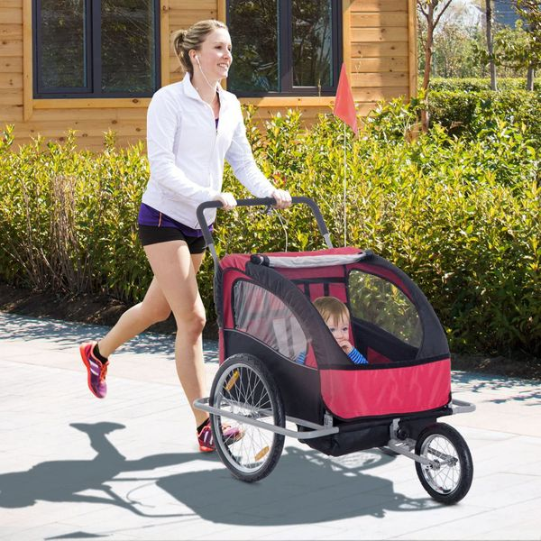 Aosom Bike Trailer Baby 2 in 1 Stroller Double Child Kids Seat Cycling Hitch Double Child Folding Jogger Red Black|Aosom Canada