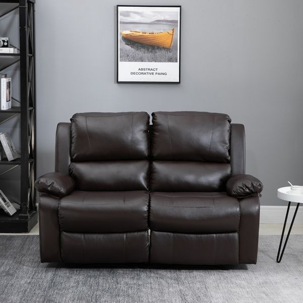 HOMCOM Double Seat Reclining Loveseat Recliner PU Faux Leather Pullback Control with Footrest