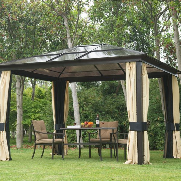 Outsunny 12x10ft Hard Top Patio Garden Outdoor Gazebo Canopy Sunshelter Waterproof Sun Shade with Sidewalls and Mosquito Netting |Aosom Canada
