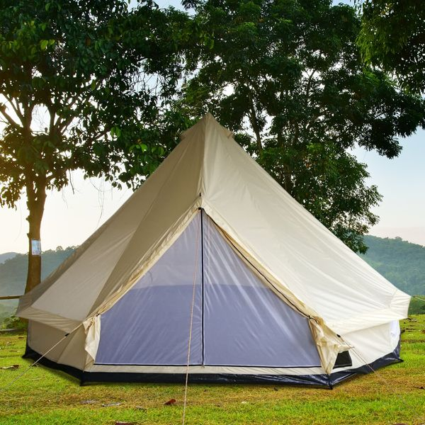Outsunny 16.4' Large Family Tent Hunting Shelter  for Camping Beige