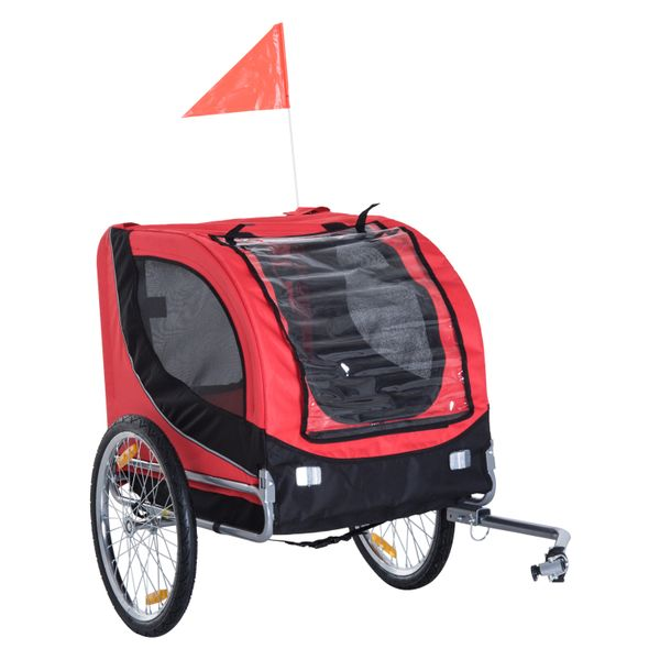 PawHut Pet Bike Trailer Bike Cart Bicycle Dog Cat Travel Carrier Foldable Red|Aosom Canada