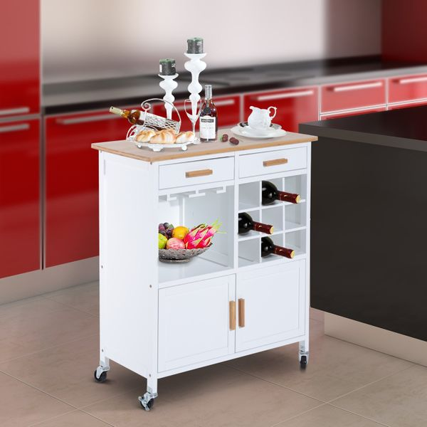 HOMCOM Portable Kitchen Trolley with Bamboo Top Storage Cabinet and Wine Rack (White)|Aosom Canada