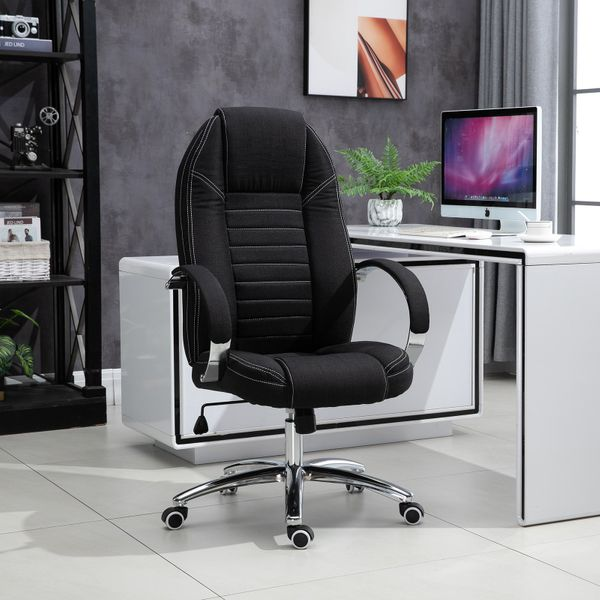 Vinsetto Office Chair Ergonomic Design Linen Surface Foam Padded w/ Adjustable Height & Armrest Black | Aosom Canada