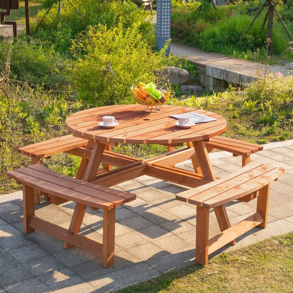 Outsunny 8 Seater Round Wooden Pub Bench & Picnic Table Garden Chair Dining Table Set