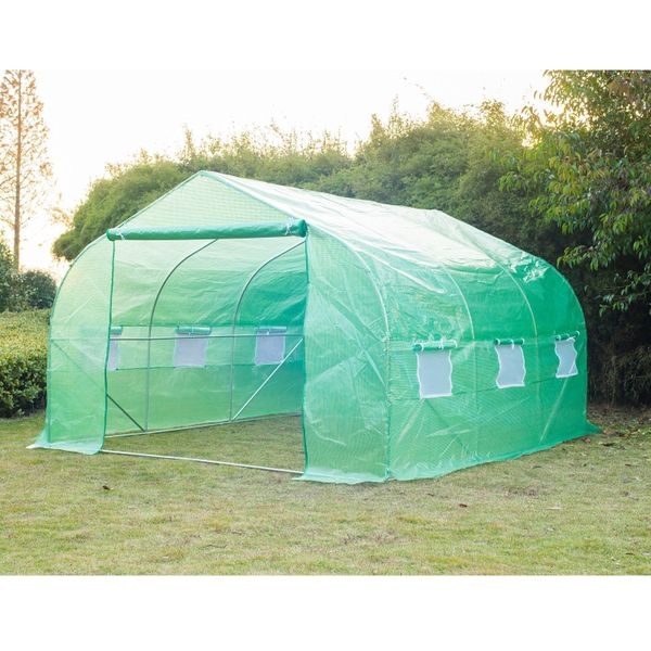 Outsunny Outdoor Greenhouse 11.5' x 10 ' x6.6' Walk-in Greenhouse Garden Plant Seed Green House Premium Steel Frame|Aosom Canada