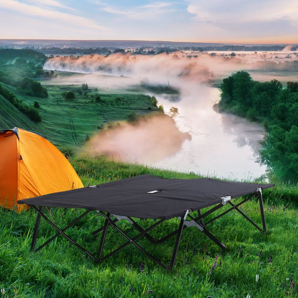 Outsunny 2 Person Folding Camping Cot Travel Hiking Bed w/ Carrying Bag Black