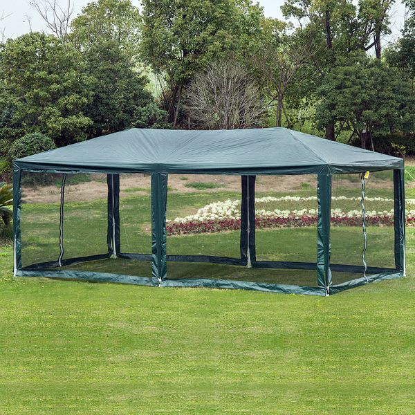 Outsunny 10'x20' Gazebo Canopy Tent w/ 4 Removable Mesh Side Walls Green|AOSOM.CA