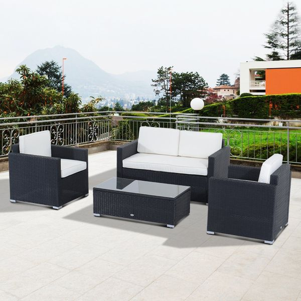 Outsunny 4-Piece Cushioned Outdoor Rattan Wicker Sofa Set Sectional Garden Patio Furniture with Cushion   Aosom Canada