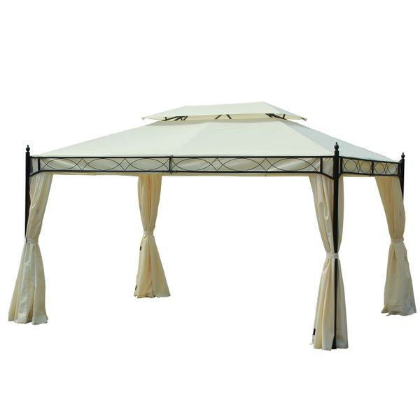 Outsunny Party Gazebo Tent, 3x 4m, Cream|Aosom.ca