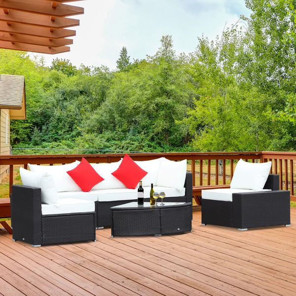 Outsunny 6 Piece Outdoor Wicker Furniture Set  Patio Cushioned Rattan Sofa Chiars Table