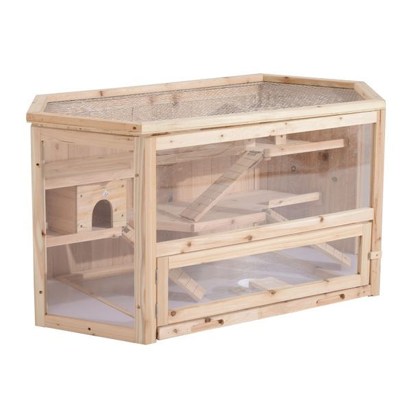 PawHut Wood Hamster Cage 3 Tier with Slide | Aosom Canada