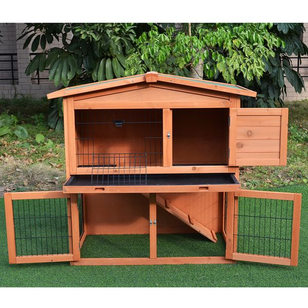 """PawHut Large Rabbit Cage 40"""" Rabbit Hutch Chicken Coop Wood Cage Poultry House Outdoor Garden Small Animal Habitats with Run 