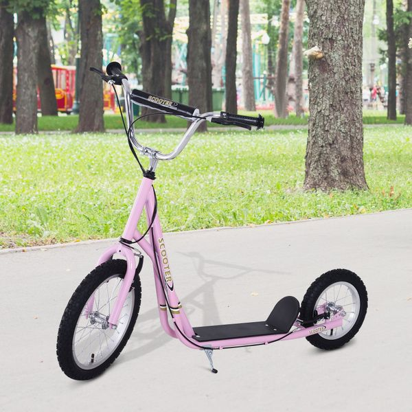 "Homcom Adjustable non-electric Kick Scooter Child Pro Stunt Scooter Ride On Speeder Kids Street Bike 16"" Inflatable Tire Pink 