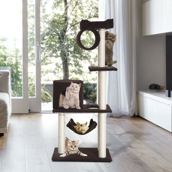 "PawHut 55"" Scratching Cat Tree Kitty Furniture House Condo Post Pet Supply Deep-Brown