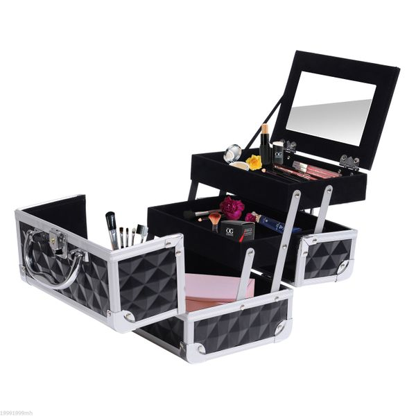 HOMCOM 3 Tier Makeup Train Case Cosmetic Jewelry Box Diamond Texture Aluminum Organizer Pro Storage with Mirror Black | Aosom Canada