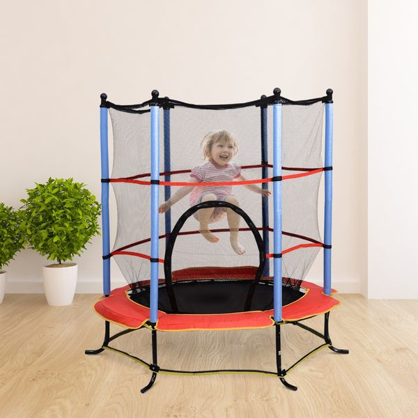 Aosom 55in Children's Trampoline with Safety Enclosure Net All in 1 Set