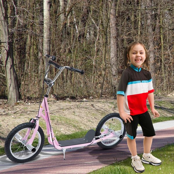 "Homcom Adult Teen Kick Scooter Children Ride On Stunt Bike Bicycle w/ 16"" Pneumatic Tyres Pink