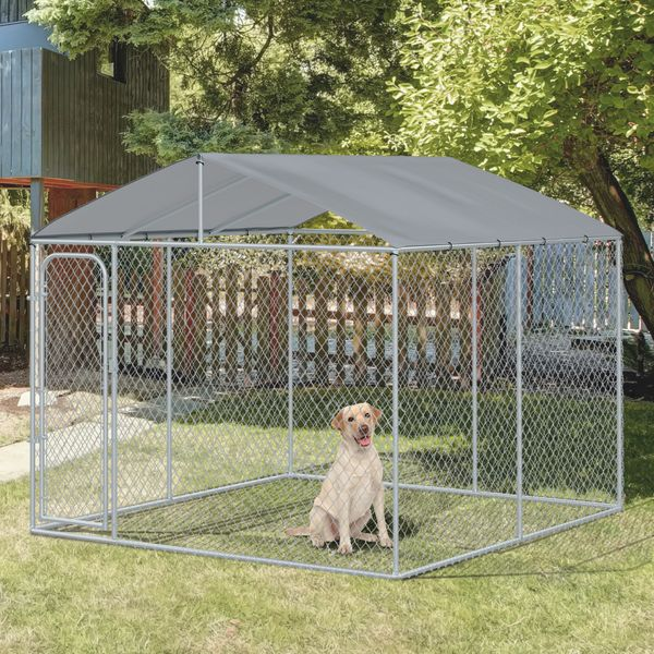 PawHut 10'Lx10'Wx6'H Large Outdoor Dog Kennel Playpen Galvanized Pet Exercise House Cage with Canopy Roof, Silver