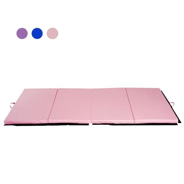 Soozier 4ftx8ftx2inch PU Leather Gymnastics Tumbling Mat Arts Folding Yoga Exercise Gym Pad 4 Panel Pink | Aosom Canada