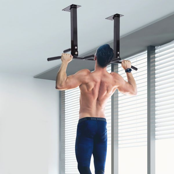 Soozier Ceiling Mounted Pull Up Bar Wall Mount Chin Up Bar Upper Body Strength Training Station Home Gym Black