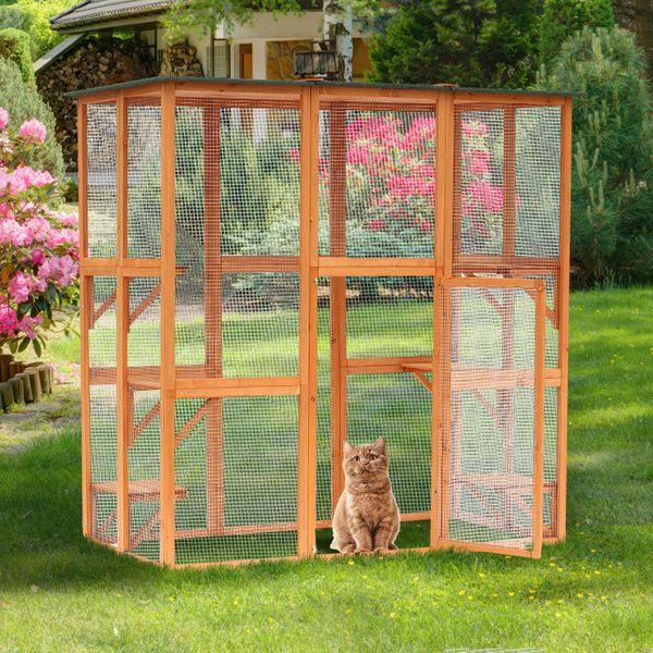 PawHut Large Wooden Outdoor Cat Enclosure Cage Pet House Catio Play Area