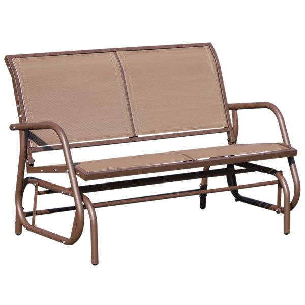Outsunny Outdoor Steel Sling Fabric Glider Patio Loveseat Brown | Aosom Canada