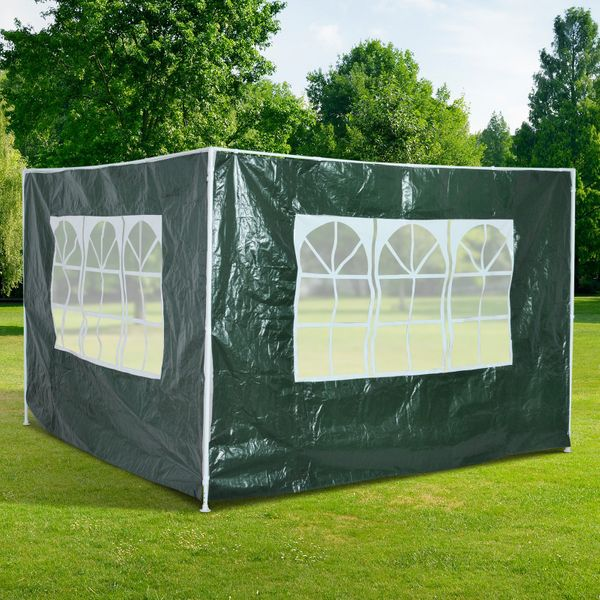 Outsunny 2 Piece Gazebo Privacy Panel Side Wall 10'x 6.6' Canopy Gazebo Side Panel Sun Wall Tent Side Wall Green | Aosom Canada