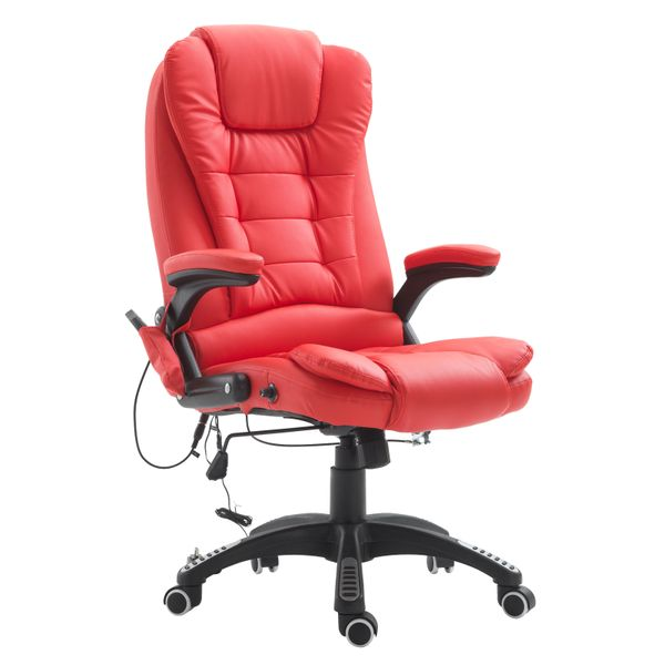 HOMCOM Executive Ergonomic Heated Vibrating Massage Office Chair Faux Leather Adjustable Swivel High Back Home Furniture Heater w/ Remote Control Red | Aosom Canada